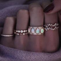 Fashion Rhinestone Inlaid Ring Set 6 pcs/Set