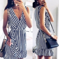 Sexy V-neck Sleeveless Irregular Hem Striped Dress