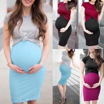 Fashion Short Sleeve T-shirt + Sling Dress Maternity Two-piece Set