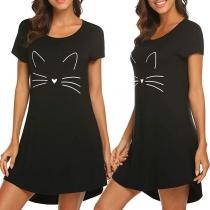 Cute Cat Printed Short Sleeve Round Neck Nightwear Dress