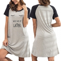 Fashion Contrast Color Short Sleeve Round Neck Printed Nightwear Dress
