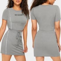 Ensemble deux pièces: Crop Haute à Manche Courte Imprimée + Mini Jupe Taille Haute
