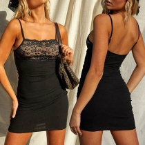 Sexy Backless Lace Spliced Slim Fit Sling Dress