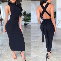 Sexy Backless Sleeveless Solid Color Slim Fit Dress