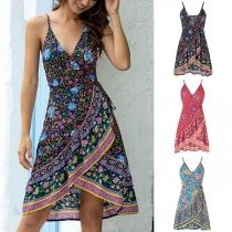 Bohemian Style Backless V-neck Irregular Hem Printed Sling Dress