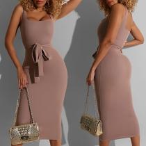 Elegant Solid Color Sleeveless Square Collar Slim Fit Dress