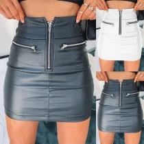 Jupe en Cuir Synthétique Slim Fit Taille Haute