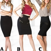 OL Style Solid Color High Waist Slim Fit Skirt