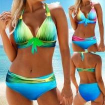 Sexy Color Gradient Halter Bikini Set