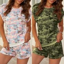 Ensemble deux pièces: T-shirt à Manches Courtes Imprimées Camouflage + Short Courte