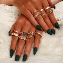 Retro Style Gold-tone Alloy Ring Set 13 pcs/Set