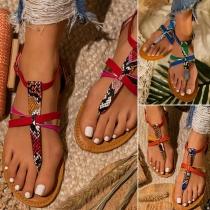 Sandales à Style bohème Talon Plat et Serpentine Imprimée