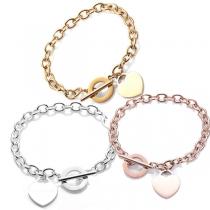 Bracelet avec Pendentif Coeur Mode en Acier Inoxydable