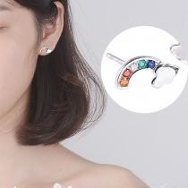 Boucles d'oreilles en Forme d'arc-en-ciel de Strass Colorés