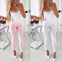Pantalon Skinny Taille Haute avec Cordons de Serrage dans L'ourlet