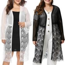 Fashion Lace Spliced Long Sleeve Cardigan