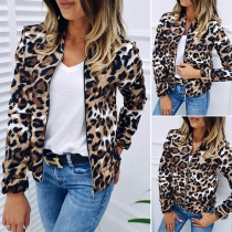 Fashion Long Sleeve Stand Collar Leopard Printed Thin Jacket