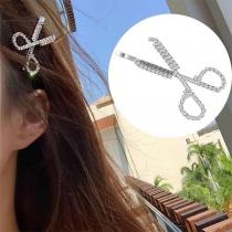 Épingle à Cheveux en Forme de Ciseaux Incrustés à la Mode