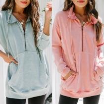 Fashion Solid Color Long Sleeve Stand Collar Sweatshirt