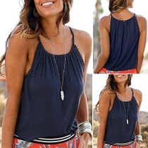 Simple Style Solid Color Sling Top