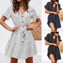Fashion Short Sleeve V-neck Dots Printed Dress