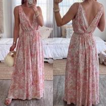 Sexy Backless Deep V-neck Sleeveless Printed Dress