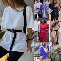 Fashion Shorts Sleeve T-shirt + Shorts Two-piece Set with Waistband