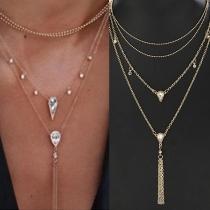 Fashion Rhinestone Inlaid Tassel Pendant Four-layer Necklace