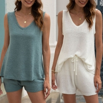 Fashion Solid Color Sleeveless V-neck Top + Shorts Knit Two-piece Set