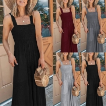 Sexy Backless High Waist Solid Color Sling Wide-leg Jumpsuit