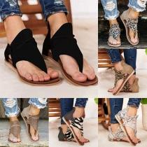 Sandales à Lanières Imprimées Léopard à la Mode