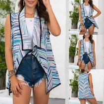 Fashion Sleeveless Lapel Colorful Striped Vest