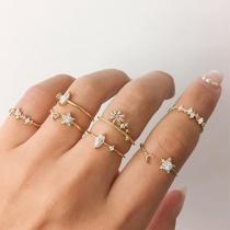 Fashion Rhinestone Inlaid Alloy Ring Set 7 pcs/Set