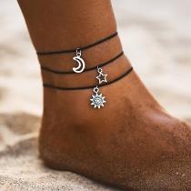 Ensemble de Bracelets de 3 Pièces à Pendentif Étoile en Croissant