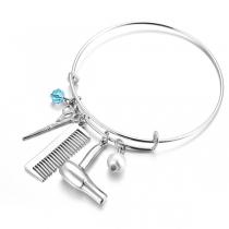 Bracelet à Pendentif Ciseaux et Peigne et Sèche-Cheveux de Style Créatif
