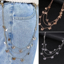 Sweet Style Butterfly Pendant Three-layer Waist Chain