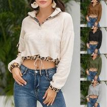 Fashion Leopard Spliced Long Sleeve Crop Top Sweatshirt