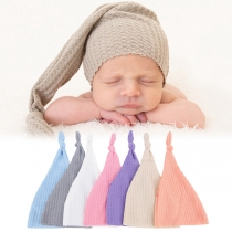 Fashion Solid Color Knotted Knit Beanies for Babies
