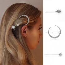Ensemble de 3 Épingles à Cheveux en Forme de Croissant et Étoile Strass Incrusté