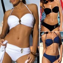 Sexy Low-waist Solid Color Halter Bikini Set