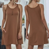 Simple Style Solid Color Round Neck Sling Dress