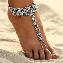 Bracelet de Cheville Argenté de Style bohème