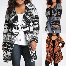 Chic Style Skull Head Printed Long Sleeve Lapel Knit Cardigan