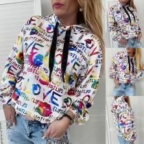 Fashion Colorful Letters Printed Long Sleeve Hooded Sweatshirt