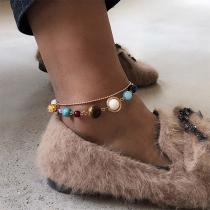 Bracelet / Cheville Double Ring avec Pendentif Planètes de Style Chic