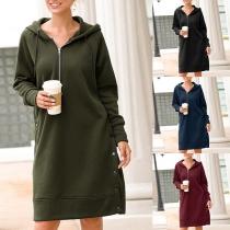 Fashion Solid Color Long Sleeve Hooded Sweatshirt Dress