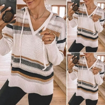 Fashion Long Sleeve V-neck Hooded Striped Sweater