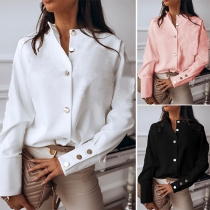 OL Style Long Sleeve Stand Collar Solid Color Shirt