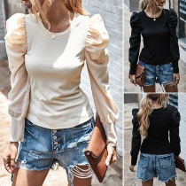 Fashion Solid Color Puff Sleeve Round Neck T-shirt