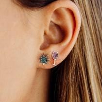Boucles d'oreilles Asymétriques en Forme de Verre à Vin de strass de Style Chic